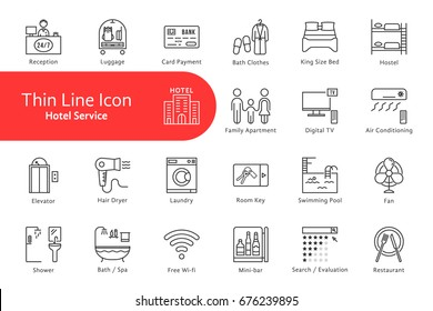 thin line icons set for hotel and home life. linear flat style modern logotype stroke graphic art design isolated on white. concept of privacy location for rest and stay relax or motel website signs