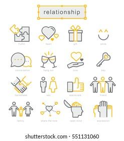 Thin line icons set, Linear symbols set, Relationship
