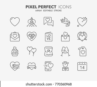 Thin line icons set of love and valentine's day. Outline symbol collection. Editable vector stroke. 64x64 Pixel Perfect.