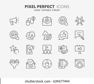 Thin line icons set of marketing, advertising and promotional campaigns. Outline symbol collection. Editable vector stroke. 64x64 Pixel Perfect.