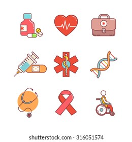 Thin line icons set. Medical, healthcare and health awareness. Flat style color vector symbols isolated on white.