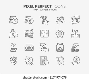 Thin line icons set of money, coins and finances. Outline symbol collection. Editable vector stroke. 64x64 Pixel Perfect.