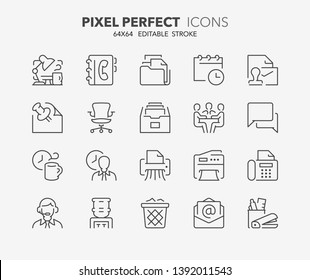 Thin line icons set of office. Outline symbol collection. Editable vector stroke. 64x64 Pixel Perfect.