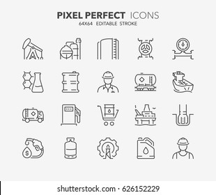 Thin line icons set of oil and gas industry. Outline symbol collection. Editable vector stroke. 64x64 Pixel Perfect.