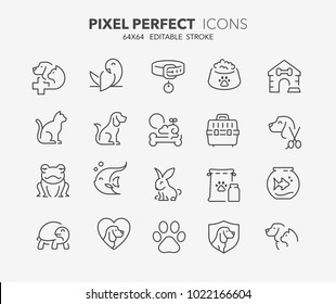 Thin line icons set of pets and veterinary. Outline symbol collection. Editable vector stroke. 64x64 Pixel Perfect.