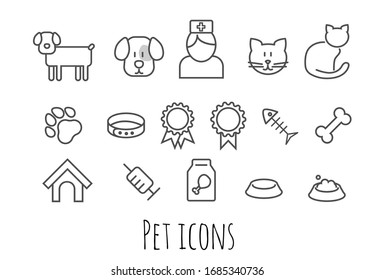 Thin line icons set of pets and veterinary. Outline symbol collection. Editable vector stroke. Cute vet icon set.