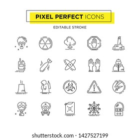 Thin line icons set of radioactivity environment. Outline symbol collection. Editable vector stroke. Pixel Perfect icons.