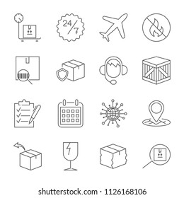 Thin line icons set of shipping and delivery. Outline symbol collection. Editable vector stroke.