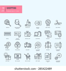 Thin line icons set. Icons for shopping