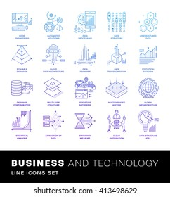 Thin Line Icons Set. Simple Linear Pictogram Collection for Web Design. Stroke Logo Concept Pack. Big Data Structure, Database Architecture, Data Science Technology Concept. Vector Illustration.