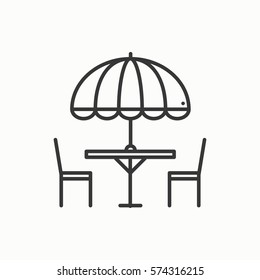 Thin line icons set. Table and chair outside. Silhouette street cafe, restaurant sign. Food service. Patio furniture symbol. Vector style linear icons.