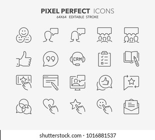 Thin line icons set of testimonials and customer relationship management. Outline symbol collection. Editable vector stroke. 64x64 Pixel Perfect.