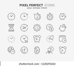 Thin line icons set of time and clocks. Outline symbol collection. Editable vector stroke. 64x64 Pixel Perfect.