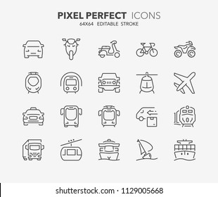 Thin line icons set of transport and vehicles. Outline symbol collection. Editable vector stroke. 64x64 Pixel Perfect.