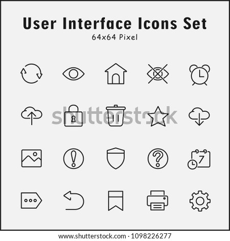 Thin Line Icons Set User Interface Stock Vector (Royalty