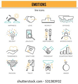 Thin line icons set, vector illustration. Human feelings and emotions, couple relationships. Strong metaphors, isolated symbols. Simple mono linear design.