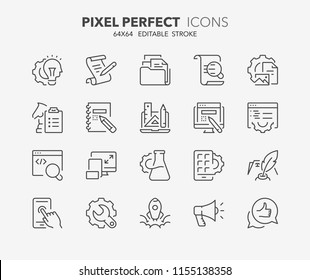 Thin line icons set of website development process. Outline symbol collection. Editable vector stroke. 64x64 Pixel Perfect.