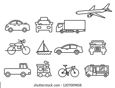 thin line icons set,transportation,Airplane,Car,Truck,Bus,Train,Bicycle,Car front,Motorcycle,Pickup truck,Boat,vector illustrations