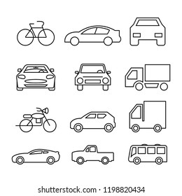 thin line icons set,transportation,car front,bicycle,motorcycle,pickup truck,truck,bus,vector illustrations