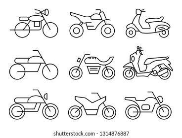 thin line icons set,transportation,Motorcycle,vector illustrations