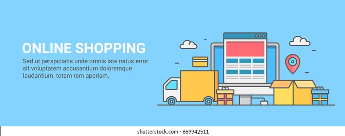 Thin line illustration of online shopping, order, and delivery. eCommerce website flat vector