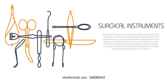 Thin line illustration. surgical instruments and tools for surgery