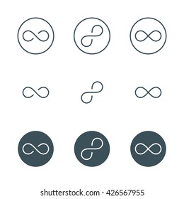 thin line infinity symbol or sign. infinite logo concept in modern flat outline style. linear limitless icon. isolated on white background. vector illustration