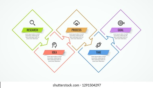 Thin line Infographic design template with icons and 5 options or steps.  Can be used for process diagram, presentations, workflow layout, banner, flow chart, info graph.