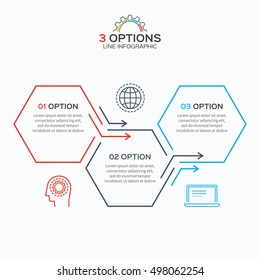 Thin line infographic template with 3 hexagons options