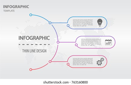 Thin line infographics templete with circle 3 options