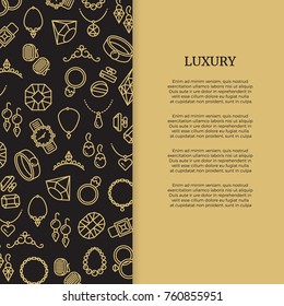 Thin line jewelry and diamonds luxury banner poster. Vector illustration