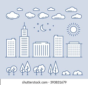 Thin line landscape elements vector icons set. Line buildings, trees, bushes, clouds, sun, moon and stars. Outline template illustration