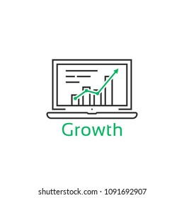 thin line laptop with growth prediction. flat linear style trend modern graphic lineart design isolated on white background. concept of expansion indicator for expense or productivity gain profit info