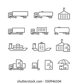 Thin line logistics logo concept isolated on white background. Web infographics linear cargo icons set. Outline sign vector illustration. Stroke simple mono shipping icon infographic pictogram pack.