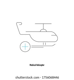 Thin line medical helicopter icon on white background with plus sign. Cross icon on hospital helicopter. Minimalist medical transportation icons. Simple health care symbols.