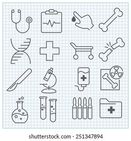 Thin line medicine and healthcare icons set