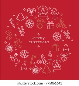Thin line Merry Christmas icons set. Simple  vector illustration elements. Candles gift boxes christmas tree wreath stocking candy cane bells holly decoration Merry Christmas, Santa Claus.