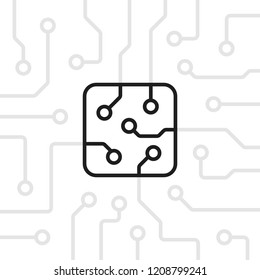 thin line microchip on circuit board. concept of future revolution technology or micro processor for phone or laptop. flat linear art trend modern pcb logo graphic lineart design illustration element