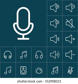 thin line microphone, mic icon on blue background, audio icons set