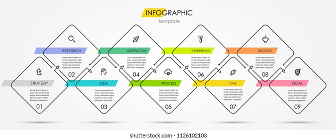 Thin line minimal Infographic design template with icons and 9 options or steps.  Can be used for process diagram, presentations, workflow layout, banner, flow chart, info graph.