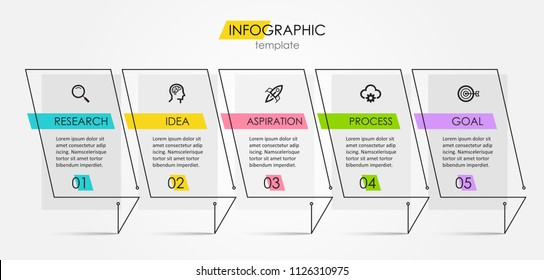 Thin line minimal Infographic design template with icons and 5 options or steps.  Can be used for process diagram, presentations, workflow layout, banner, flow chart, info graph.