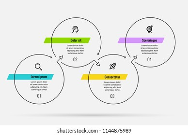 Thin line minimal Infographic design template with icons and 4 options or steps.  Can be used for process diagram, presentations, workflow layout, banner, flow chart, info graph.