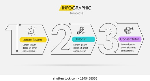 Thin line minimal Infographic design template with icons and 3 options or steps.  Can be used for process diagram, presentations, workflow layout, banner, flow chart, info graph.