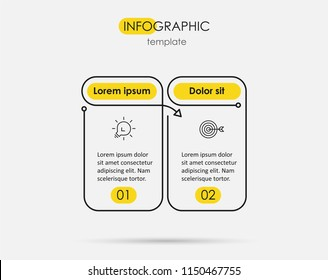 Thin line minimal Infographic design template with icons and 2 options or steps.  Can be used for process diagram, presentations, workflow layout, banner, flow chart, info graph.