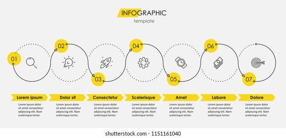 Thin line minimal Infographic design template with icons and 7 options or steps.  Can be used for process diagram, presentations, workflow layout, banner, flow chart, info graph.
