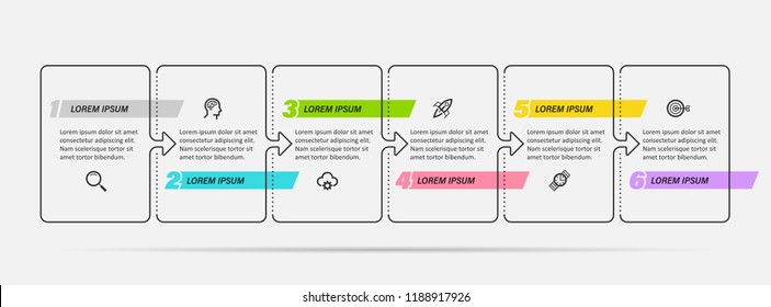 Thin line minimal Infographic design template with icons and 6 options or steps.  Can be used for process diagram, presentations, workflow layout, banner, flow chart, info graph.
