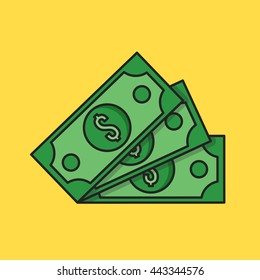 Thin line money icon. Three dollar banknotes. Modern clean flat design graphic elements for banners, websites, mobile app, infographics, printed materials. Vector illustration