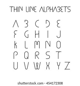 thin line and narrow English alphabets or letters in abstract and unique shapes and in uppercase - vector icons