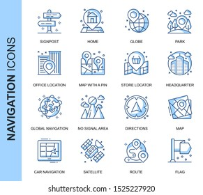 Thin Line Navigation Related Vector Icons Set for Website and Mobile Site and Apps. Outline icons design. Contains such Icons as Store Locator, Office, Home and more. Linear Pictogram Pack.
