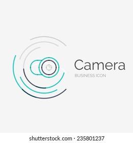 Thin line neat design logo, clean modern concept, camera idea
